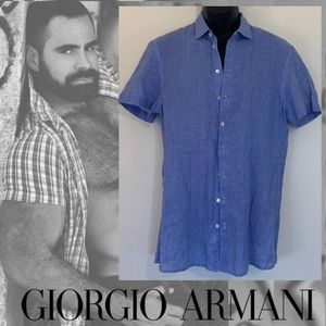 Armani Plaid Linen Short Sleeve Shirt Medium